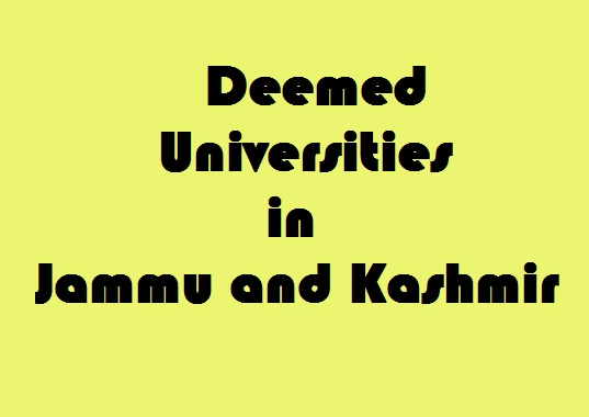 Deemed Universities in Jammu and Kashmir